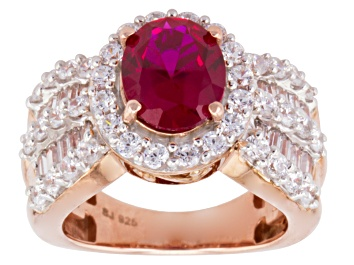 Picture of Red And White Cubic Zirconia 18k Rose Gold Over Silver Ring 6.54ctw