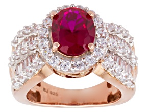 Red And White Cubic Zirconia 18k Rose Gold Over Silver Ring 6.54ctw