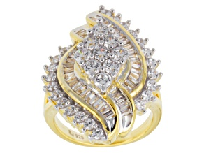 Cubic Zirconia 18k Yellow Gold Over Silver Ring 5.09ctw (3.42ctw DEW)