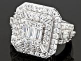 Cubic Zirconia Rhodium Over Sterling Silver Ring 5.87ctw (3.15ctw DEW)