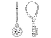 Cubic Zirconia Silver Earrings 3.77ctw (2.10ctw DEW)