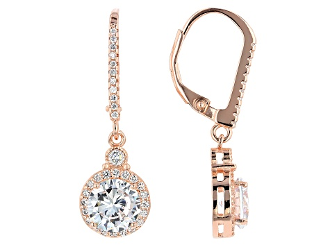 Cubic Zirconia 18k Rose Gold Over Sterling Silver Earrings 3.77ctw (2.10ctw DEW)
