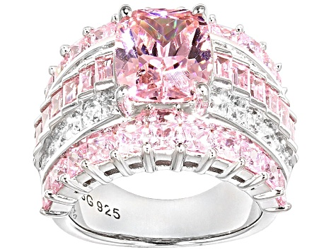 Pink And White Cubic Zirconia Rhodium Over Silver Ring 11.66ctw (8.81ctw DEW)