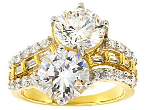 Cubic Zirconia 18k Yellow Gold Over Silver Ring 15.43ctw (8.68ctw DEW)