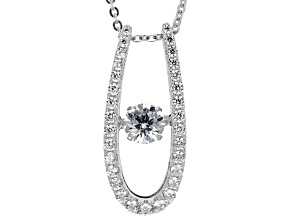 White Cubic Zirconia Rhodium Over Silver Dancing Bella Pendant With Chain 1.33ctw