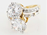 Cubic Zirconia 18k Yellow Gold Over Silver Ring 14.80ctw (8.52ctw DEW)