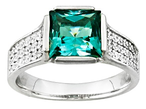Lab Created Green Spinel And White Cubic Zirconia Silver Ring 3.43ctw