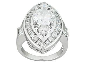 Cubic Zirconia Silver Ring 7.03ctw (3.59ctw DEW)