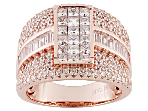 Cubic Zirconia 18k Rose Gold Over Silver Ring 4.60ct (2.96ctw DEW)