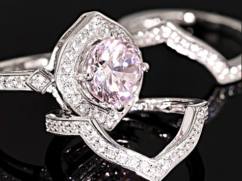 Pink And White Cubic Zirconia Silver Ring With 2 Bands 5.32ctw (2.90ctw DEW)