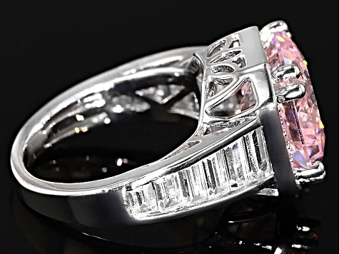 Pink And White Cubic Zirconia Silver Ring 10.90ctw (7.80ctw DEW)
