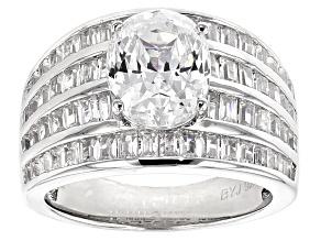 Cubic Zirconia Silver Ring 7.56ctw (5.18ctw DEW)