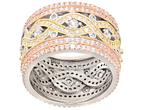 Cubic Zirconia 18k Rose Gold Over Silver & Sterling Silver Ring 3.90ctw