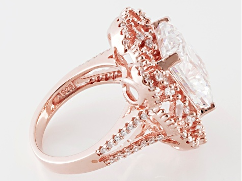 Cubic Zirconia 18k Rose Gold Over Sterling Silver Ring 13.10ctw