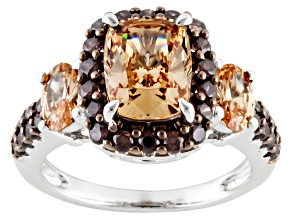 Brown And Mocha Cubic Zirconia Rhodium Over Silver Ring 5.99ctw
