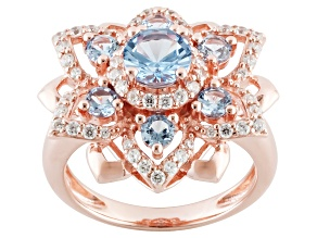 Blue And White Cubic Zirconia 18k Rose Gold Over Sterling Ring 2.20ctw