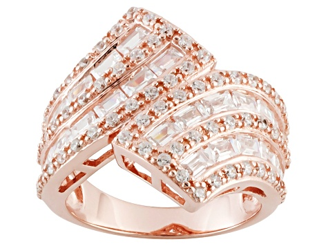 Cubic Zirconia 18k Rose Gold Over Sterling Silver Ring 3.60ctw