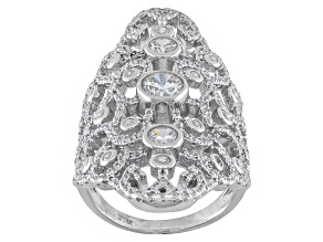 Cubic Zirconia Silver Ring 3.50ctw (2.26ctw DEW)