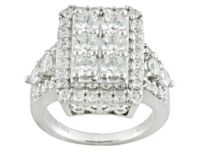 Cubic Zirconia Silver Ring 5.41ctw (2.89ctw DEW)