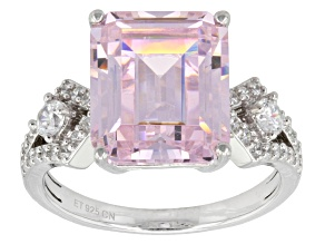 Pink And White Cubic Zirconia Silver Ring 11.51ctw (6.37ctw DEW)