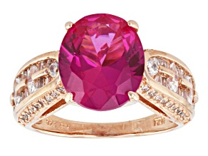 Red And White Cubic Zirconia 18k Rose Gold Over Sterling Silver Ring 7.32ctw
