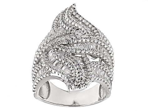 Cubic Zirconia Sterling Silver Ring 5.48ctw