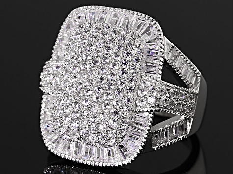 Cubic Zirconia Sterling Silver Ring 4.41ctw