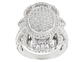 Cubic Zirconia Rhodium Over Silver Ring 2.70ctw