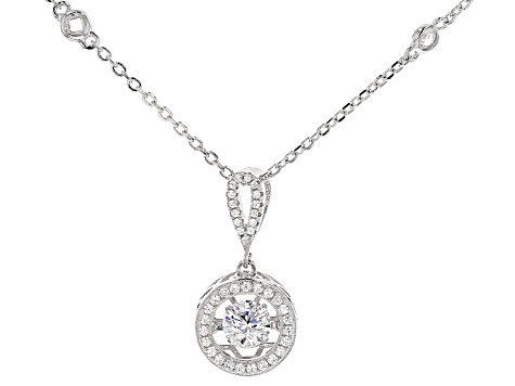 Cubic Zirconia Sterling Silver Pendant With Chain 1.74ctw