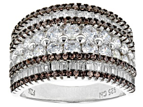 Brown And White Cubic Zirconia Rhodium Over Sterling Silver Ring 4.32ctw