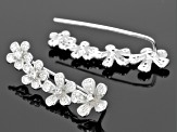 Cubic Zirconia Rhodium Over Silver Ear Climbers .80ctw