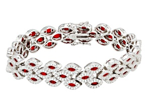 Ruby Simulant And White Cubic Zirconia Rhodium Over Silver Bracelet 14.61ctw