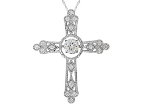 Cubic Zirconia Silver Cross Pendant With Chain 3.40ctw (1.77ctw DEW)