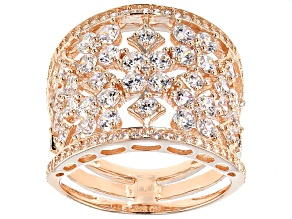 Cubic Zirconia 18k Rose Gold Over Silver Ring 2.91ctw (2.29ctw DEW)