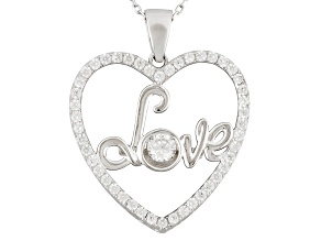 Cubic Zirconia Rhodium Over Sterling Silver Dancing Bella Heart Pendant With Chain 1.35ctw
