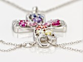 synthetic blue and red corundum & multi colored cubic zirconia sterling silver pendant w/ chain