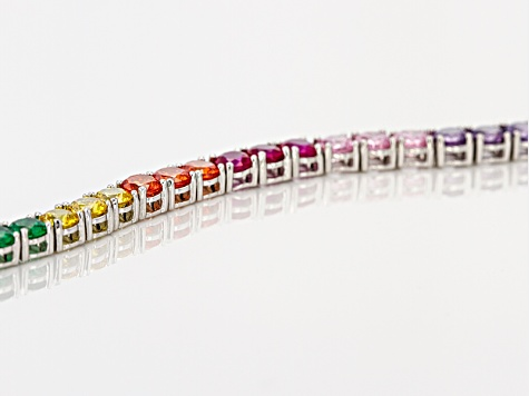 Lab Created Ruby, Green Crystal, And Multi Colored Cubic Zirconia Rhodium Over Silver Bracelet