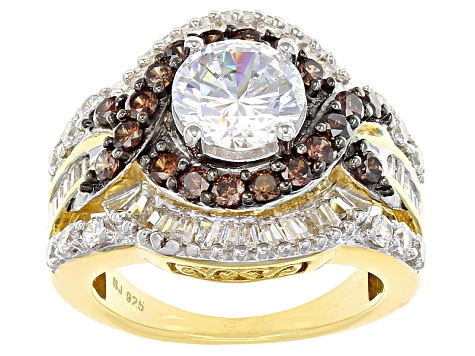 White And Brown Cubic Zirconia 18k Yellow Gold Over Silver Ring 6.55ctw (3.80ctw DEW)