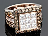 White And Brown Cubic Zirconia 18k Rose Gold Over Silver Ring 5.45ctw (3.33ctw DEW)