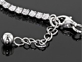 Cubic Zirconia Rhodium Over Silver Anklet 5.22ctw