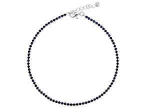 Blue Cubic Zirconia Rhodium Over Silver Anklet 5.22ctw