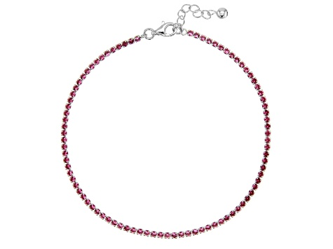 Red Cubic Zirconia Rhodium Over Silver Anklet 5.22ctw