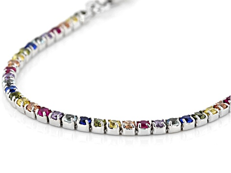 Multi Color Cubic Zirconia Rhodium Over Silver Anklet 5.22ctw