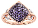 Purple And White Cubic Zirconia 18k Rose Gold Over Sterling Silver Ring 1.48ctw