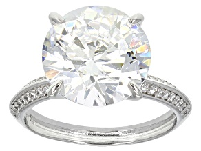 Cubic Zirconia Rhodium Over Sterling Silver Ring 12.26ctw