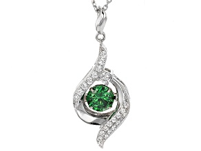 Green And White Cubic Zirconia Rhodium Over Sterling Silver Pendant With Chain 1.91ctw