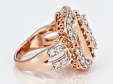 White And Brown Cubic Zirconia 18k Rose Gold Over Silver Ring 5.50ctw (2.88ctw DEW)