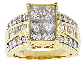 Cubic Zirconia 18k Yellow Gold Over Silver Ring 4.35ctw (2.76ctw DEW)