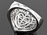 Cubic Zirconia Rhodium Over Sterling Silver Heart Ring 3.75ctw (2.79ctw DEW)