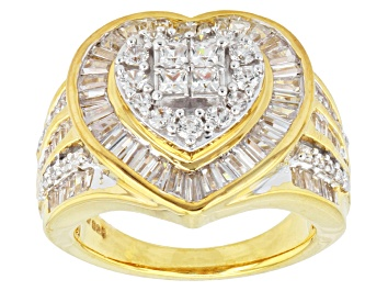 Picture of Cubic Zirconia 18k Yellow Gold Over Silver Heart Ring 3.75ctw (2.79ctw DEW)